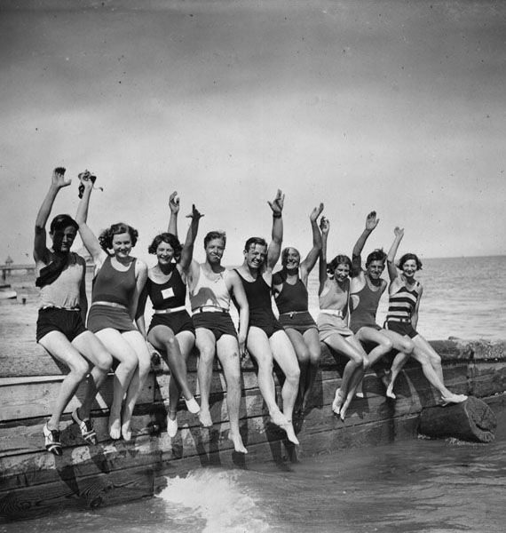 'Waves by the sea',  taken in 1930 by W.G. Phillips on the breakwater at Eastbourne. I love the image of this group of friends, it has a timeless feel and evokes for me happy memories of fun times at the coast.