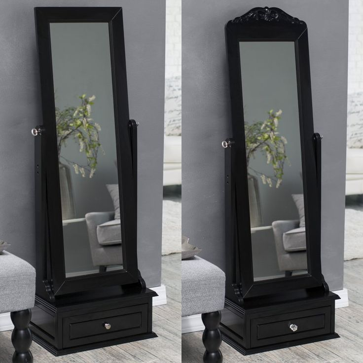 Belham Living Removable Decorative Top Cheval Mirror - Black - 21.5W x 60H in. - GH15944