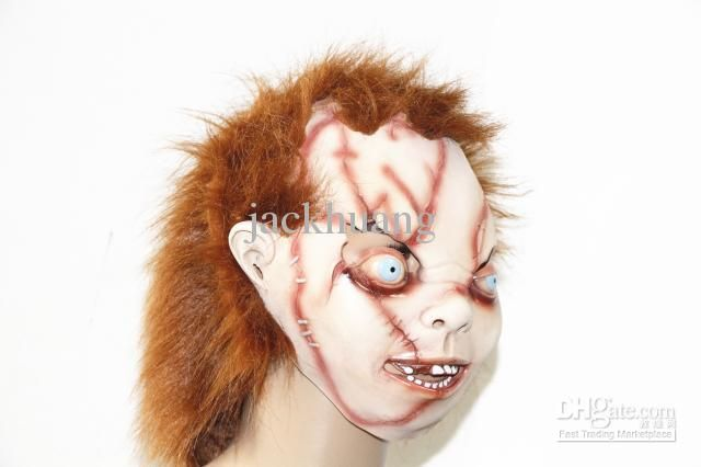 Wholesale Alien Mask - Buy Alien Mask Horror Villain Mask With Hair Realistic Halloween Mask Scar On Face Party Mask, $24.78 | DHgate