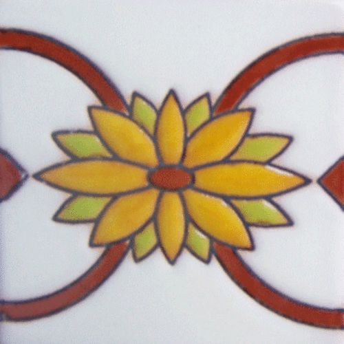 """Imagine your stair riser decorated with relief tiles, hand painted and unique. Buy Rustica House porcelain mosaics for any indoor outdoor decor and flooring, and save. Relief Tile """"Flower Border"""" by Rustica House. #myRustica"""