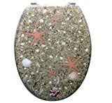 Unique Coastal Beach Beige Shell Sand Pebble Stone Starfish Resin Toilet Seat