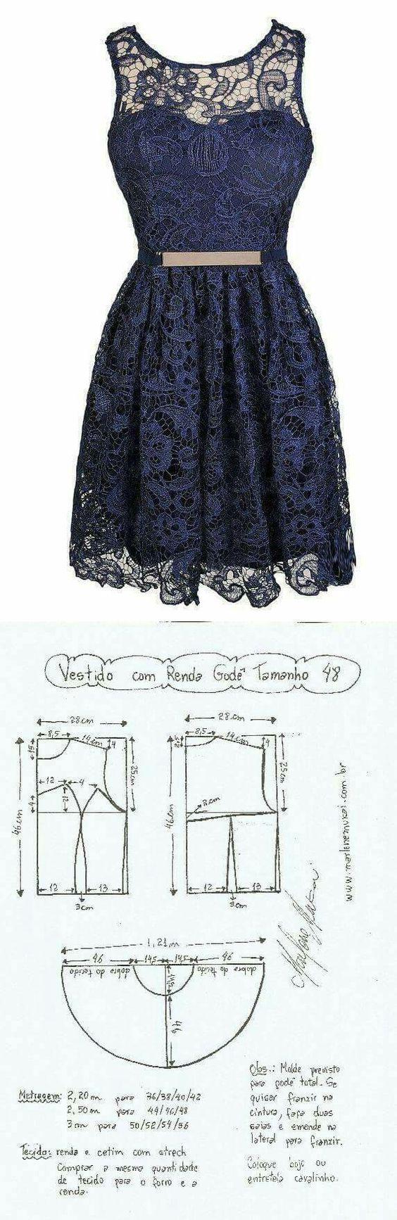Molde 48 vestido: