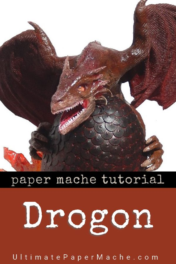 Drogon the Dragon made with paper mache clay and a lot of ingenuity