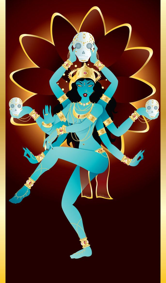 "Kali. She is sometimes shown with a dark complexion that symbolizes her all-embracing and transcendental nature. Says the Mahanirvana Tantra: ""Just as all colors disappear in black, so all names and forms disappear in her"". Her nudity is primeval, fundamental, and transparent like Nature — the earth, sea, and sky. Kali is free from the illusory covering, for she is beyond the all maya or ""false consciousness."""