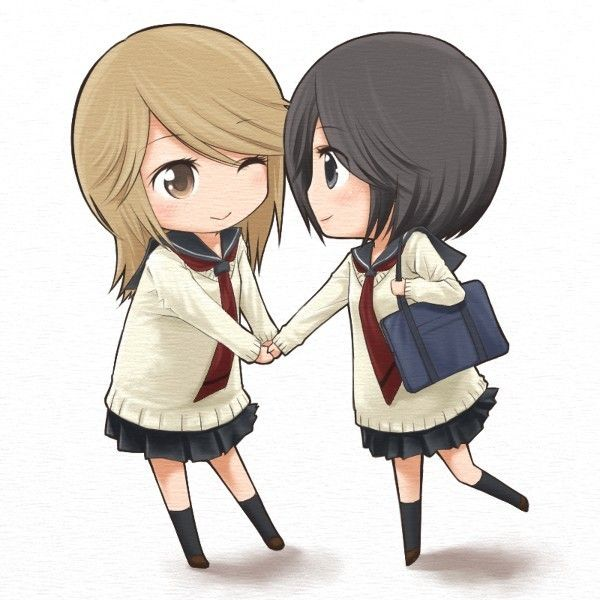 2girls chibi girl friends (manga) holding hands kumakura mariko... ❤ liked on Polyvore featuring anime, chibi, drawings, manga and people