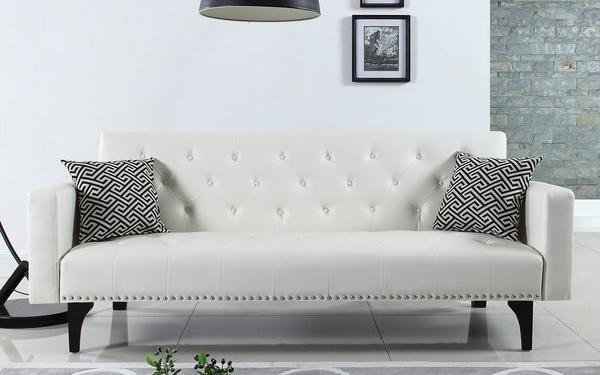 Gaby Modern Tufted Sleeper Futon In White Black Sofa Living Room Sofa Pillow Sets Sleeper Sofa