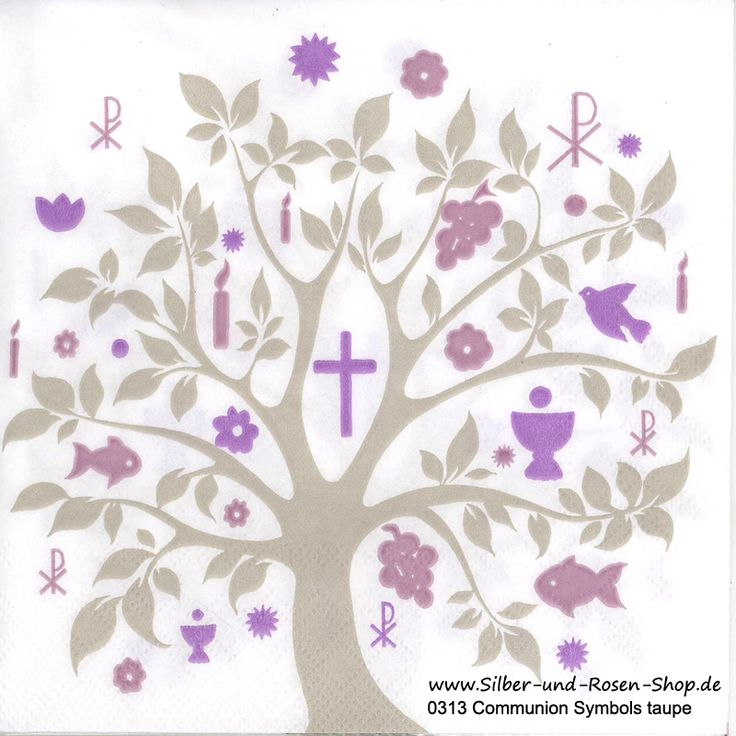 Servietten Communion Symbols taupe rosa