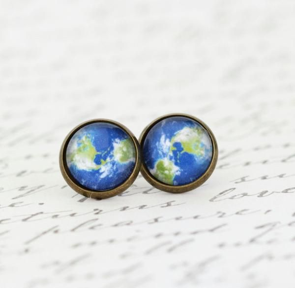 Planet Earth Earrings - Gift For The Avid Traveler Explorer - Stud Earrings - View of Earth - Map Jewelry - Green and Blue - Gift For Woman