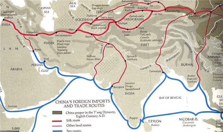 Silk Road - The Silk Route that went all through out Asia http://www.cais-soas.com/CAIS/Images2/Maps/SilkRoad1.jpg