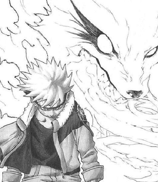 A drawing of naruto and the nine tails by shawn