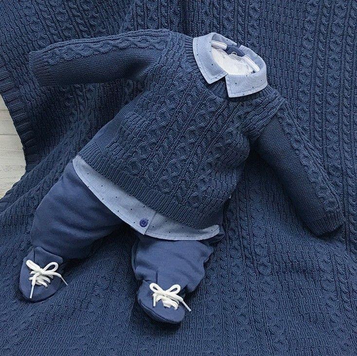 Saída De Maternidade Beth Bebê Azul Masculino Tricô  24ac0622a7c