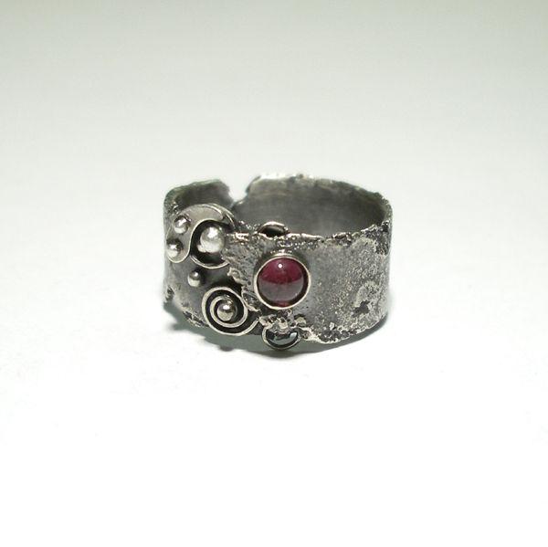 Srebrny Pierścień|Granat|Silver Ring|Handmade|By Norman Man Jewellery