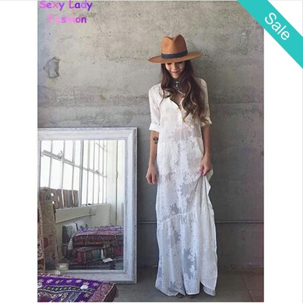 BOHO Slit Side Lace White Chiffon Maxi Dress -                             BOHO Slit Side Lace White Chiffon Maxi Dress Waistline: NaturalStyle: BohemianMaterial: Polyester,SpandexDresses Length: Floor-LengthNeckline: Turn-down CollarSilhouette: StraightSleeve Length: Full                          - On Sale for $39.28 (was $54.28)
