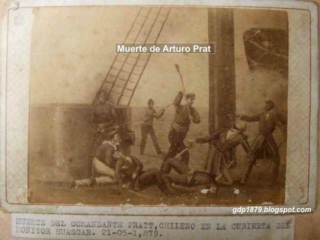 """Así murió Arturo Prat . Abordó el Huáscar, murió de un disparo y fue repasado. Captain Arturo Prat was shot, and even dead was hit with an ax. At Combat of Iquique as he boarded peruvian Monitor """"Huascar"""" (May 21, 1879)"""