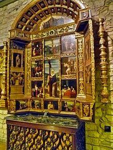 """Retablo de Santa Elena143 en la catedral de Gerona, de Pedro Fernández de Murcia -o """"Pere Fernández""""-, Antonio Norri -o Antoni Norri- y Antonio Matteu -o Antoni Matteu- (1517-1520)."""