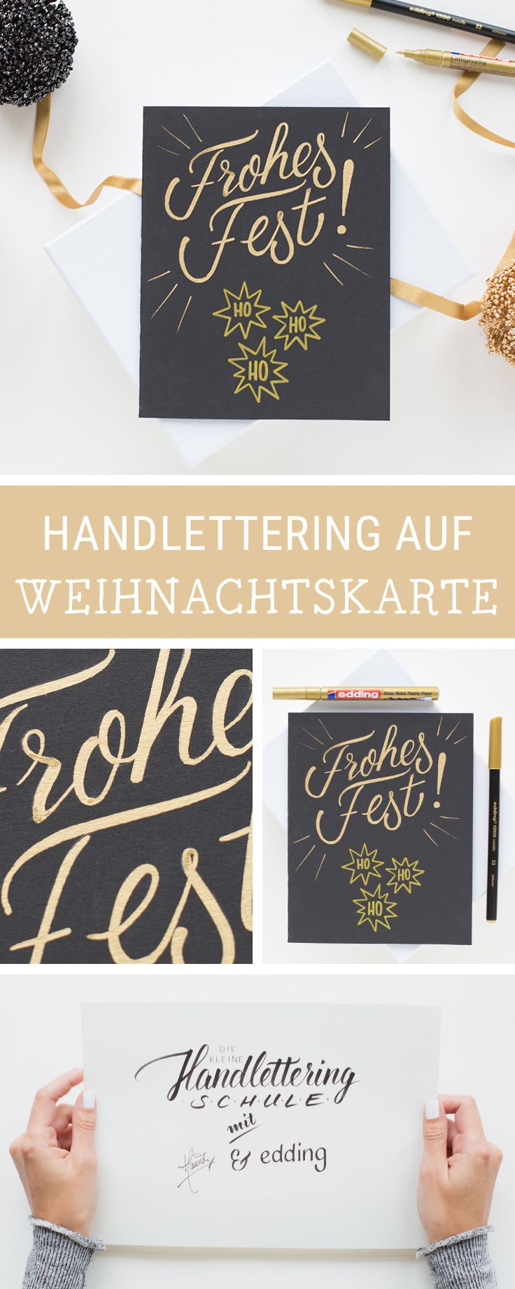 DIY-Inspiration für gestaltete Weihnachtskarten: Wir zeigen Dir zusammen mit edding, wie Du eigene Handletterings auf Karten umsetzt / christmas handlettering on christmas cards: learn how to do beautiful calligraphy via DaWanda.com #dawandaandfriends