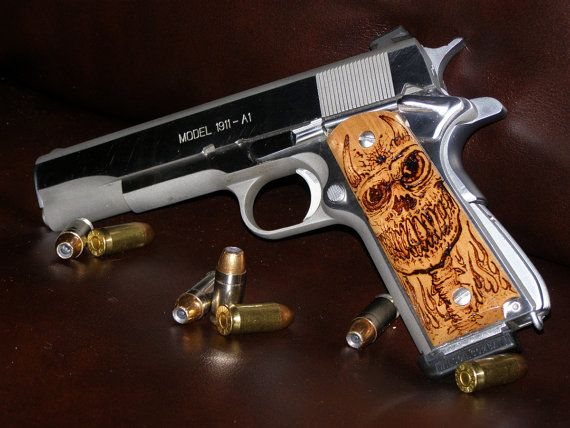 Custom 1911 grips *One of a Kind* devil skull - pyrography