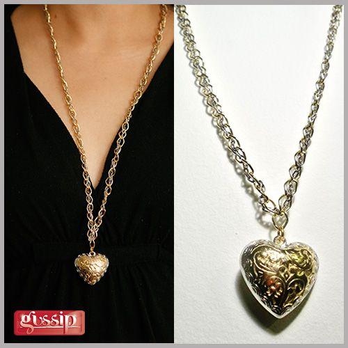 collar corazón dorado y plateado