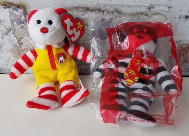 Ty Bear Ronald McDonald Hamburglar 2004 McDonalds 2 Pc Lot  25 Years New In Pack #Ty