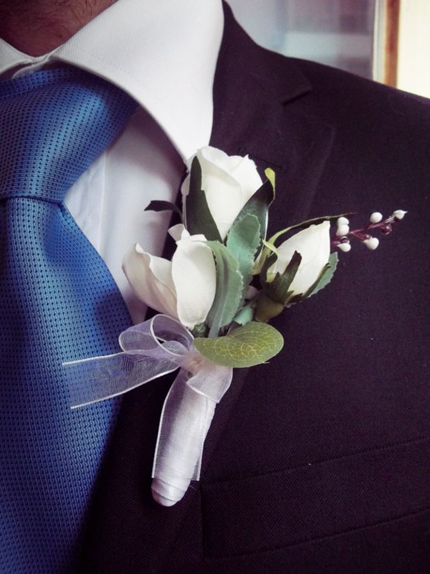 Men's Wedding Accessories – White Groom's Boutonniere – a unique product by FOLKflor on DaWanda