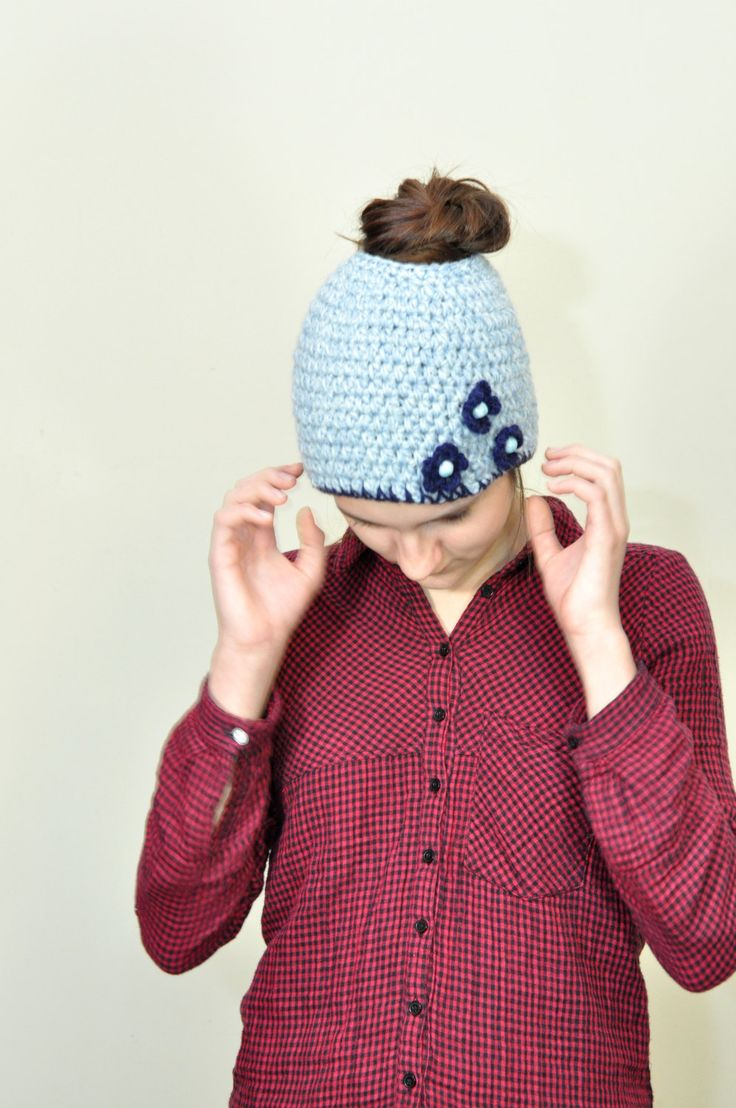 Messy bun hat, Messy bun beanie, Pony tail hat, Ponytail beanie, Woman's hat, Teen girls hat, Winter Hat, Running headband by aboutCRAFTS on Etsy