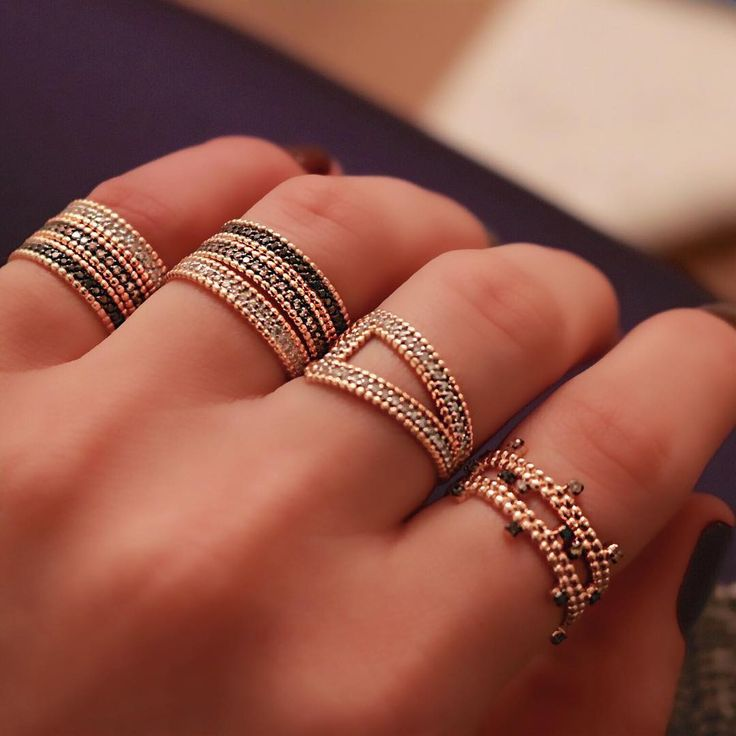 "1,438 Likes, 19 Comments - Kismet by Milka (@kismetbymilka) on Instagram: ""Stacking rings is all about combining the right shapes! #kismetbymilka #kismet #rings"""