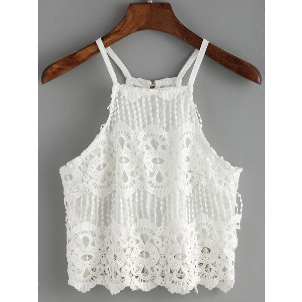 Spaghetti Strap Lace Crochet Cami Top ($8.99) ❤ liked on Polyvore featuring tops, white, lace cami tank, white lace cami, lace tank top, white tank top and spaghetti strap tank tops