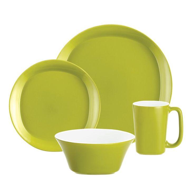 Rachael Ray Round and Square Green Dinnerware - Set of 16 - 58100
