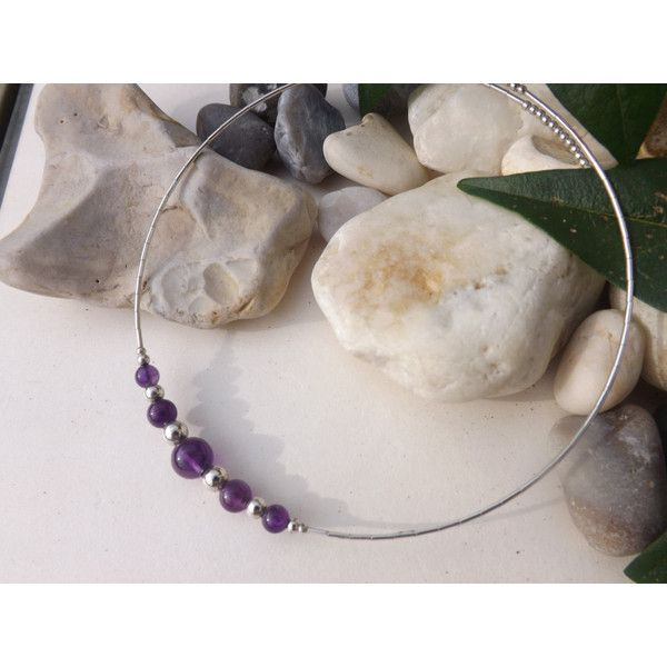Amethyst and .925 Sterling silver necklace, Amethyst and silver choker ($30) ❤ liked on Polyvore featuring jewelry, necklaces, silver choker necklaces, choker necklaces, sterling silver bangles, sterling silver jewellery and silver necklace