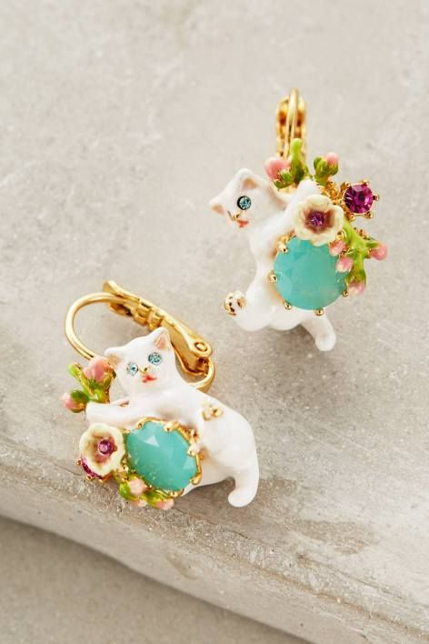 Le Chat Blanc Earrings by Les Nereides | Pinned by topista.com