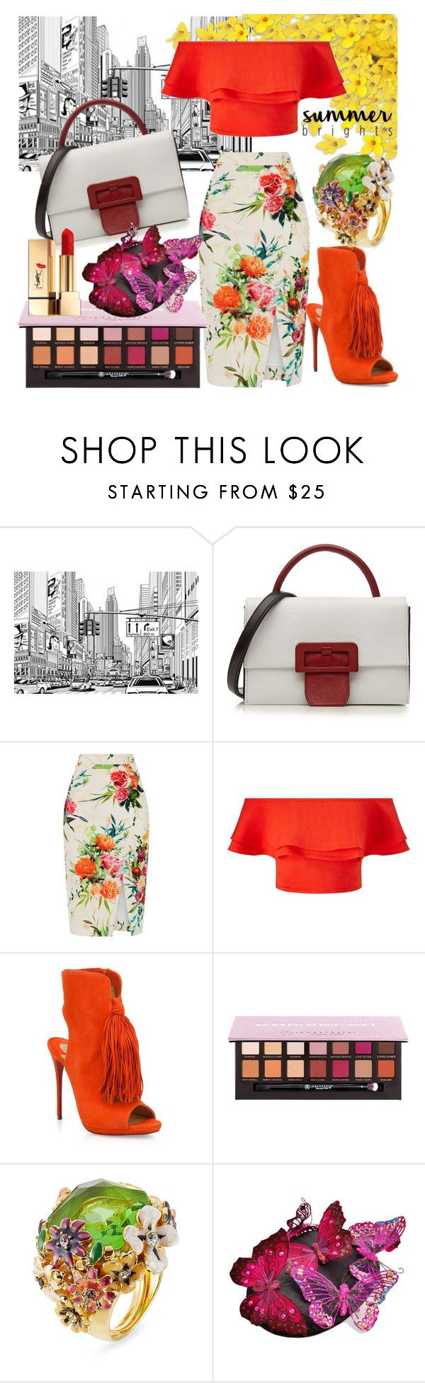 """Orange Bardot Top"" by fablygent ❤ liked on Polyvore featuring Maison Margiela, Oasis, Miss Selfridge, Christian Louboutin, Anastasia Beverly Hills, Kenneth Jay Lane, Bundle MacLaren Millinery, Yves Saint Laurent and summerbrights"
