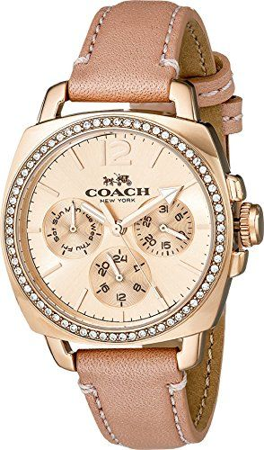 Loving this watch. COACH Womens Boyfriend Small 34mm Leather Strap Watch…