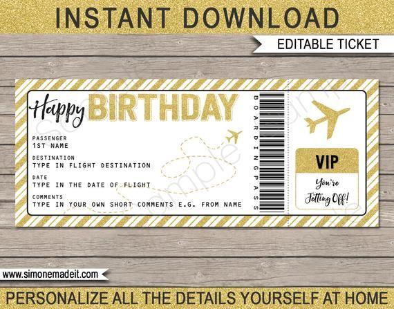 Birthday Boarding Pass Gift Surprise Trip Getaway Holiday