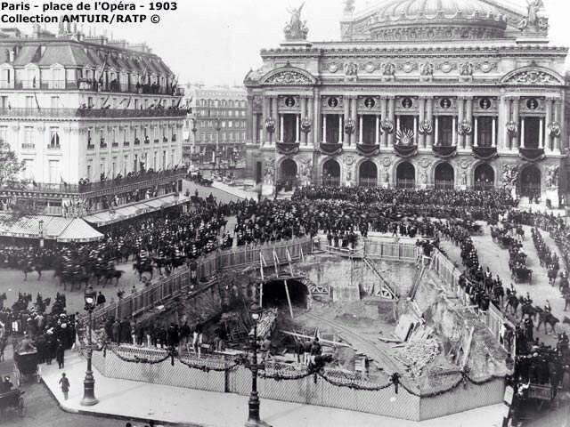 Place de l'Opéra 1903 - Construction du métro