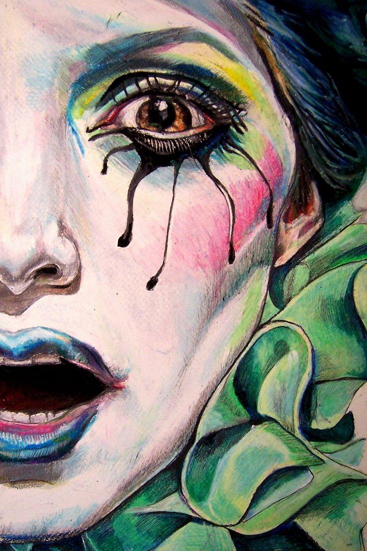 Pastel Boya Şaşkın Kadın Yüzü Resmi, Oil Pastels of the woman's face puzzled picture