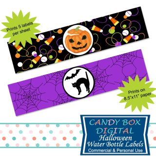 Just in time for a happy Halloween - fun, colorful water bottle labels, that…