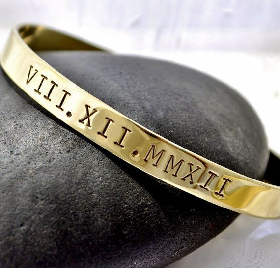 Roman Numeral Hand Stamped Brass Cuff Only$30! With the date you want remembered  COOLIO