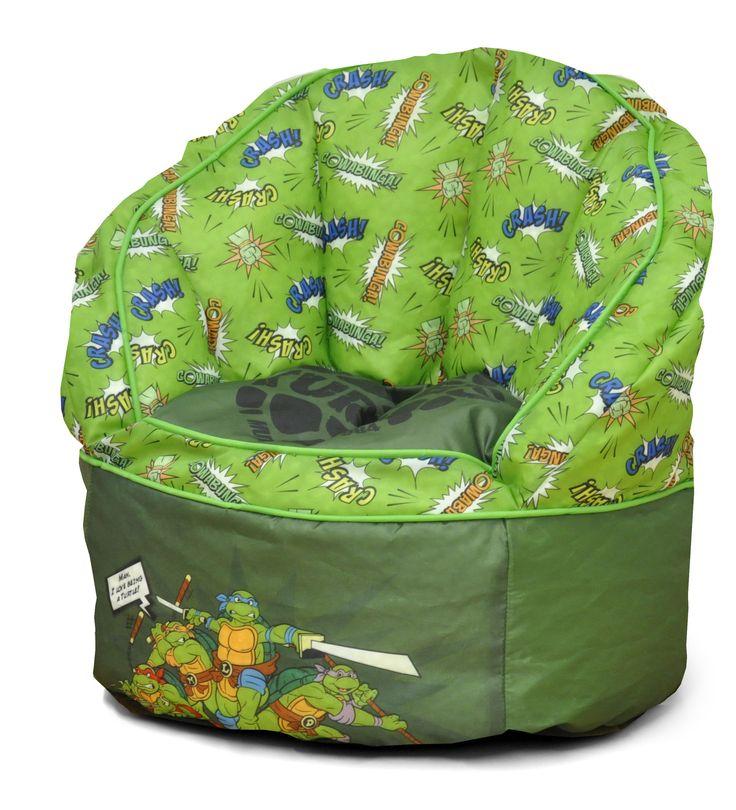 Character Toddler Kids Bean Bag Chair With Piping In Teenage Mutant Ninja Turtles
