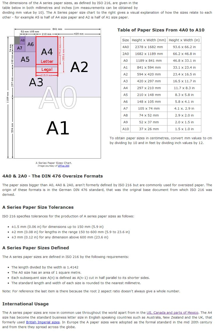 "Dimensions of ""A"" paper sizes - A0, A1, A2, A3, A4, A5, A6 ..."