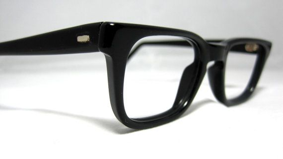 Vintage 50s Mens EyeGlasses. Black Horn by CollectableSpectacle