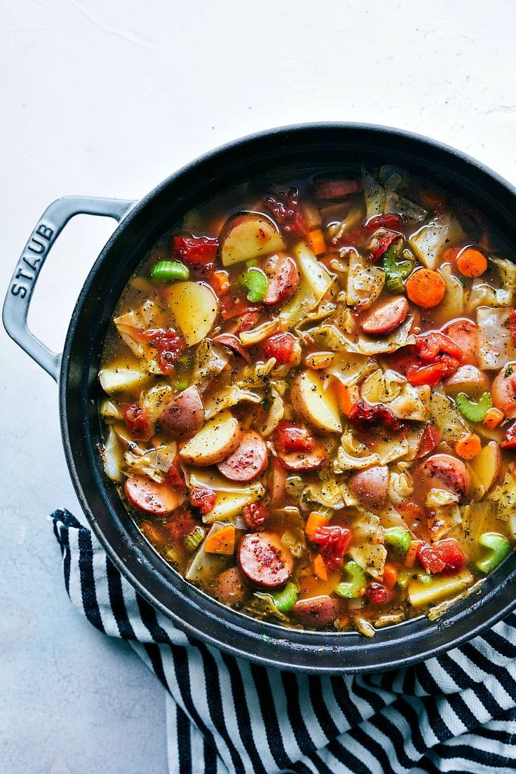 A thick and hearty sausage, potato, and cabbage soup; a healthy recipe that is packed with flavorful ingredients! BEST ever cabbage soup!