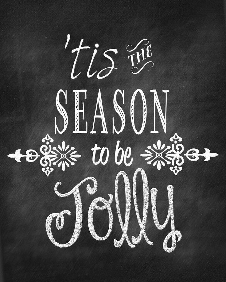 'tis the season to be jolly - chalkboard art printable