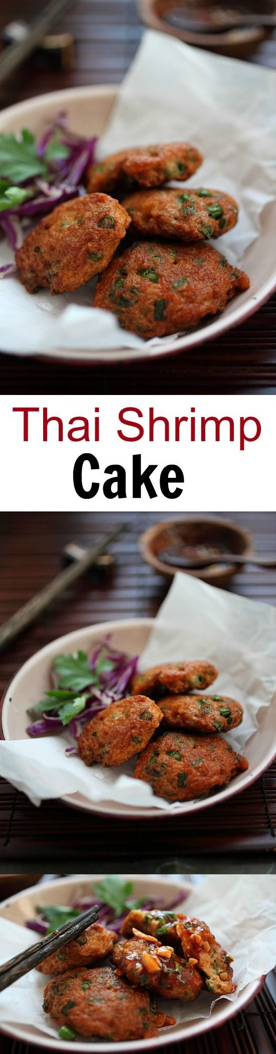 Thai Shrimp Cake - the most amazing and delicious Thai shrimp cake ever, with sweet chili sauce. Get the easy recipe now!! | http://rasamalaysia.com