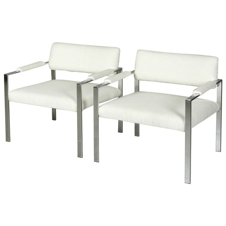 $1790/pair. Large-Scale Chrome Club Chairs Attributed to Milo Baughman | From a unique collection of antique and modern club chairs at https://www.1stdibs.com/furniture/seating/club-chairs/