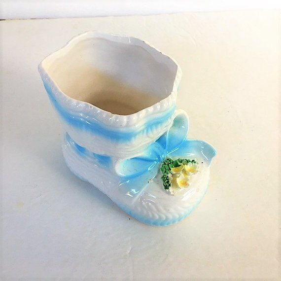 b317ee572d9c8 Vintage Ceramic Baby Shoe Planter Baby Room Decor Blue and White ...