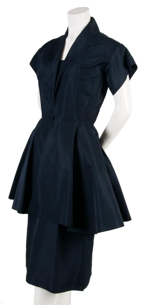 A Pauline Trigere Navy Silk Taffeta Cocktail Dress,   1950s:
