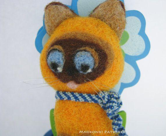 Made to Order Handmade Brooch Needle Felting Kitten Wool