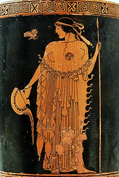 Athena and her owl depicted on a Greek Attic ware lekythos dating from 490-480 BC at the Metropolitan Museum of Art in New York