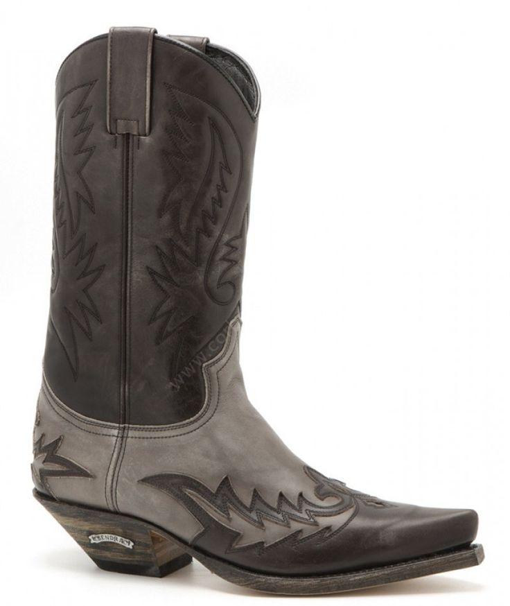 13871 Cuervo Olimpia Antracita-Olimpia Fumo | Compra en nuestra tienda online estas botas vaqueras Sendra unisex de cuero color gris oscuro y claro. | Sendra Boots mens grayish leather combination snip toe cowboy boots