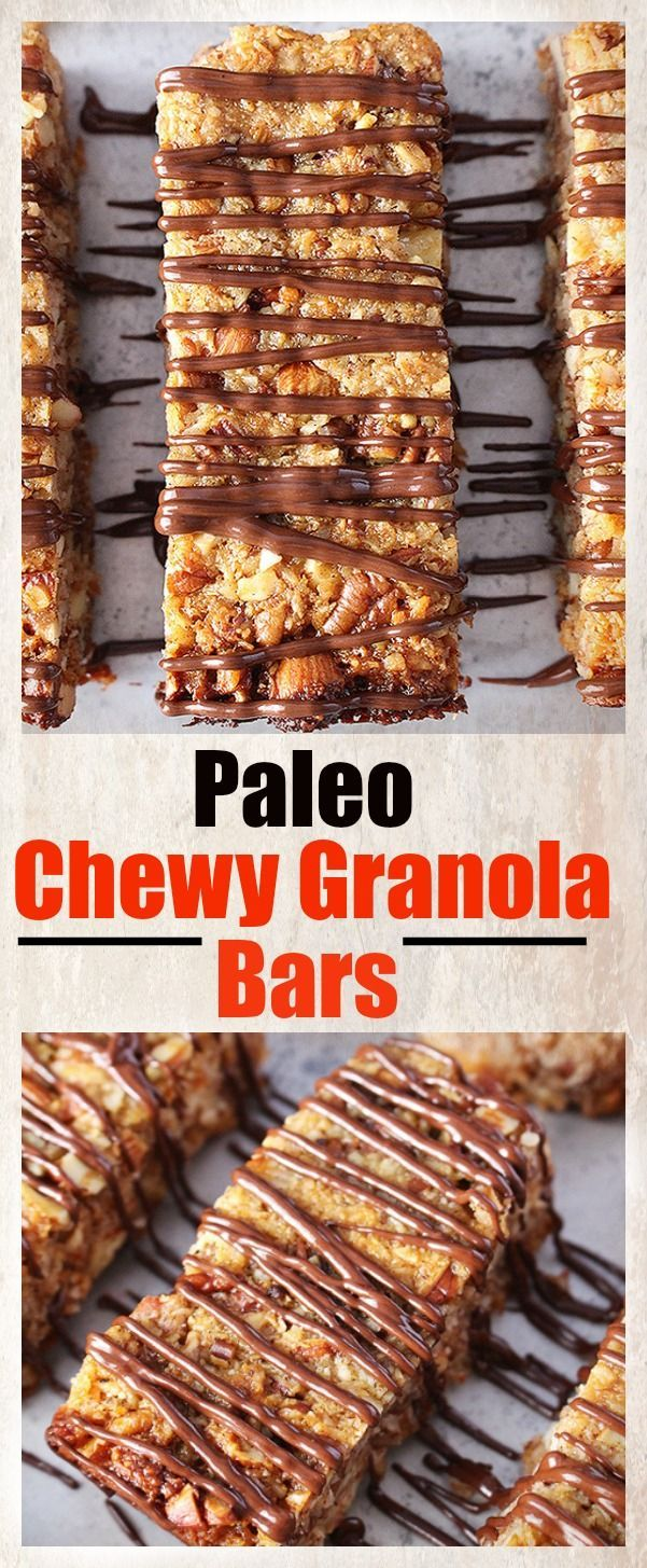 Paleo Chewy Granola Bars- a great grab and go breakfast that is easy and delicious! Gluten free, dairy free, and naturally sweetened.
